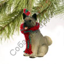 Акита новогоднее украшение «Теплый шарф»